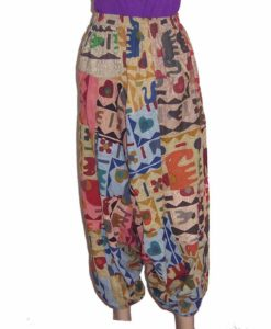 Cotton Diagonal Patchwork Ali Baba Trousers