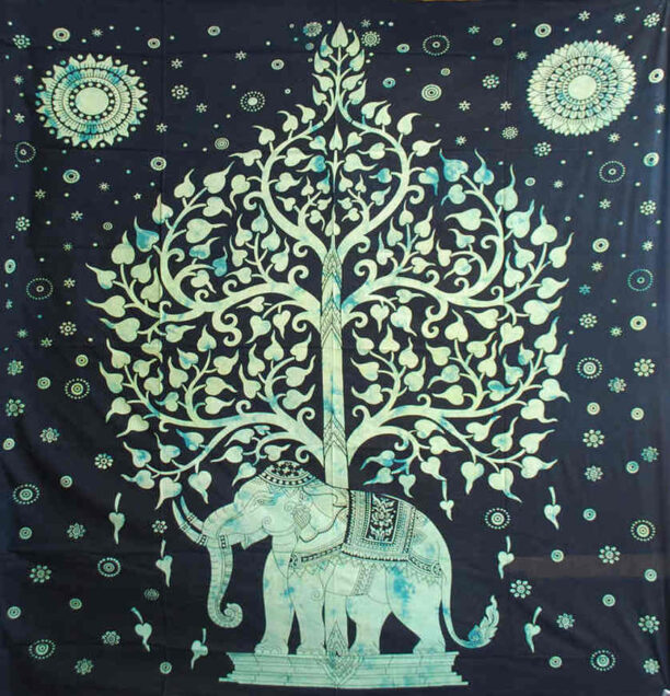 Elephant Throw with Tree in Green