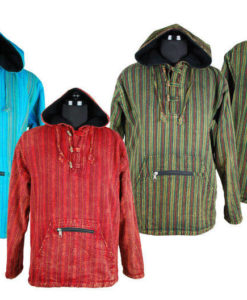 Fleece Lined Stripy Hooded Jacket