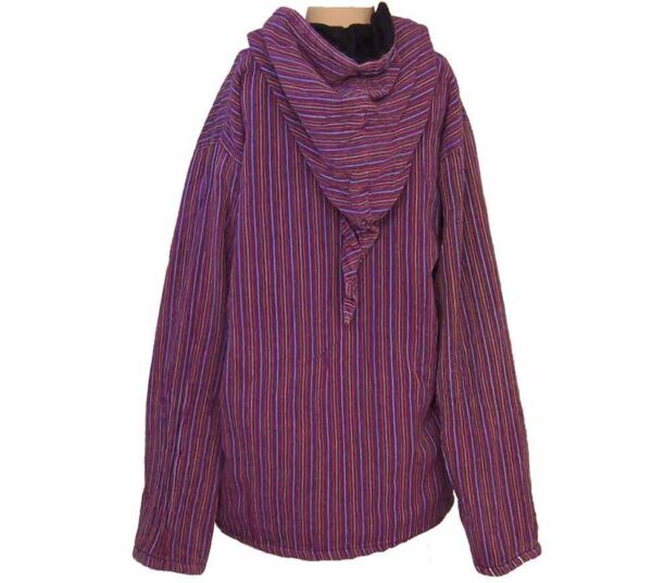 Fleece Lined Stripy Shirt Back
