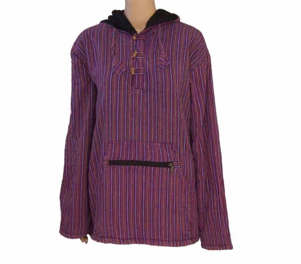 Fleece Lined Stripy Shirt Front