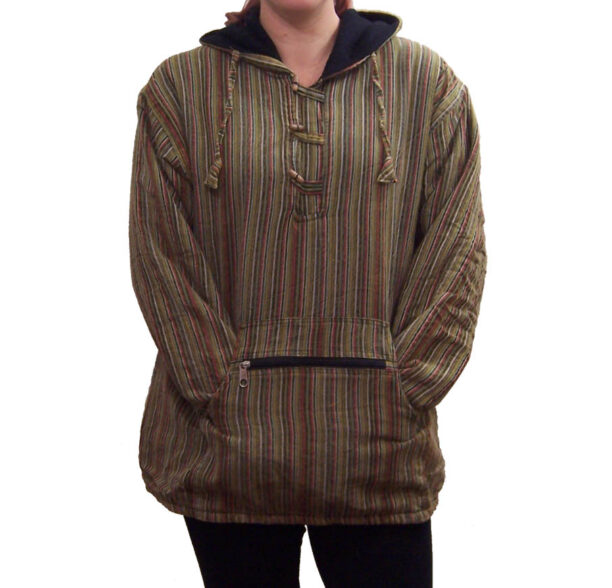Fleece Lined Stripy Shirt Green 2
