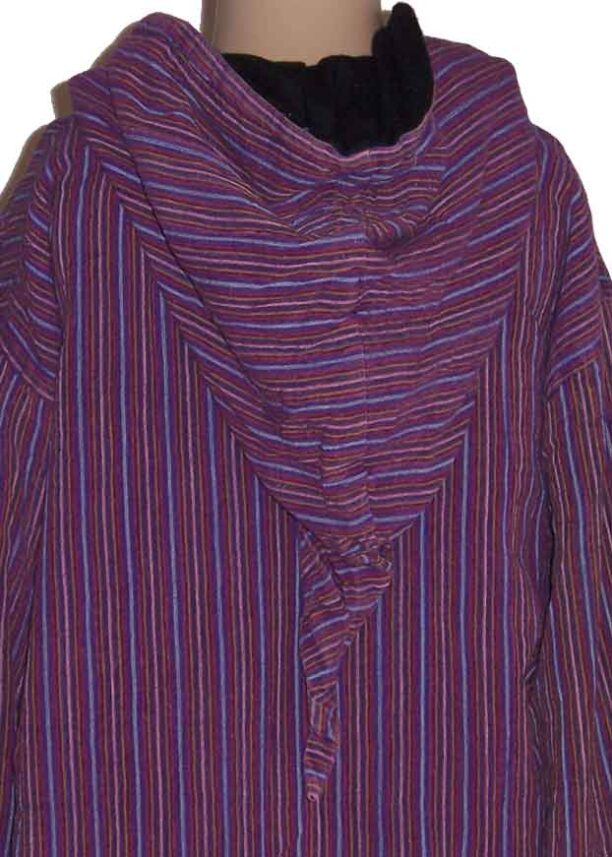 Fleece Lined Stripy Shirt Hood