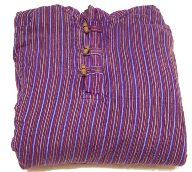 Fleece Lined Stripy Shirt with Hood Purple