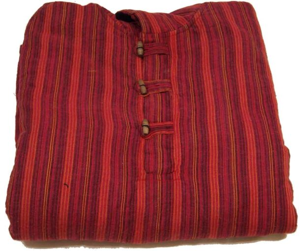 Fleece Lined Stripy Shirt with Hood Red