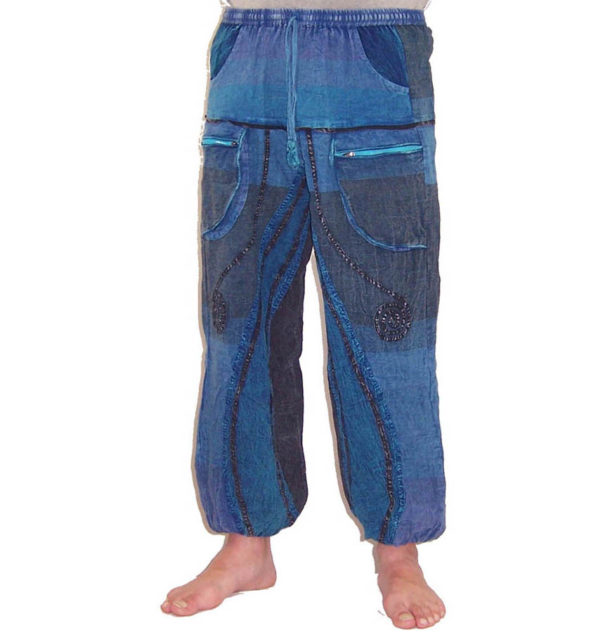 Funky Cotton Hippie Festival Trousers Blue