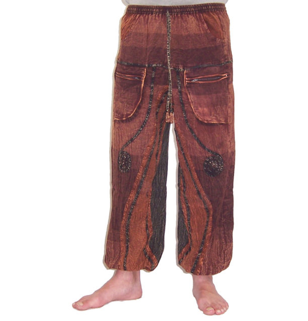 Funky Cotton Hippie Festival Trousers Brown