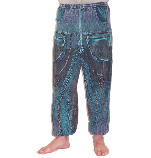 Funky Cotton Hippie Festival Trousers Petrol Blue