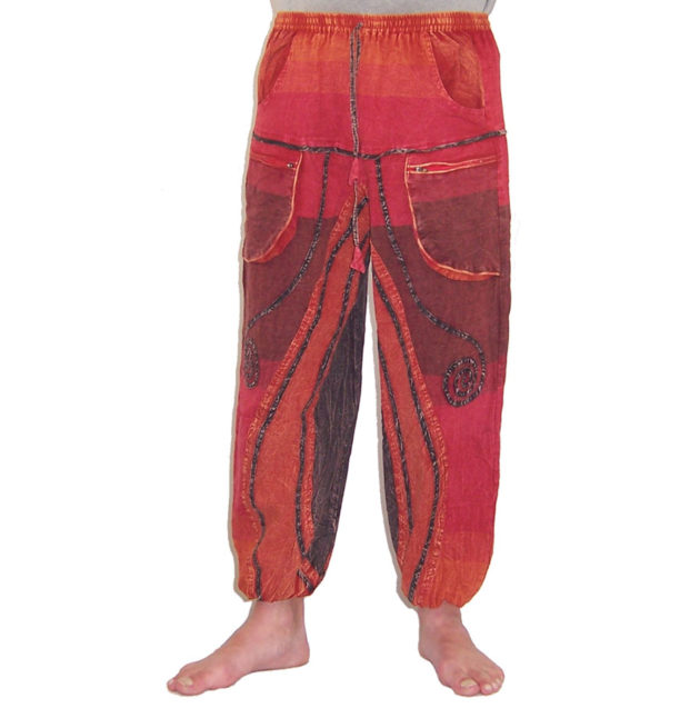 Funky Cotton Hippie Festival Trousers Red