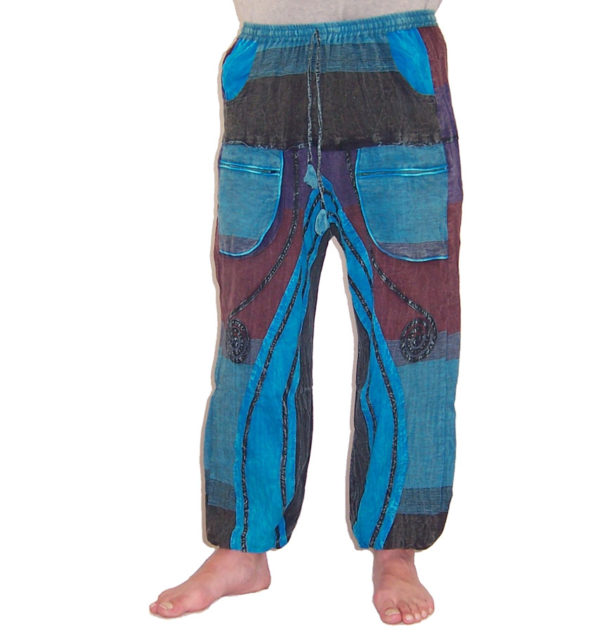 Funky Cotton Hippie Festival Trousers Turquoise