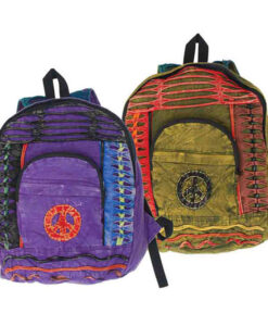 Hippy Backpack with Peace Signs and Ripped Effect