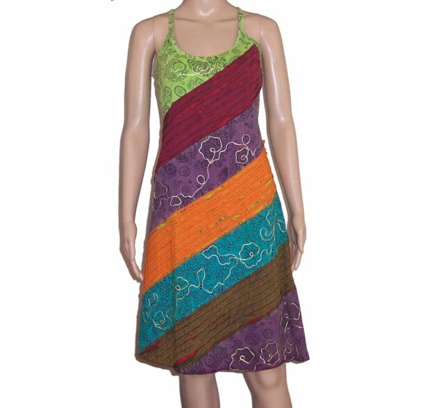 Hippy Dress with Diagonal Ripped Effect Green