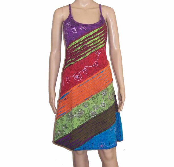 Hippy Dress with Diagonal Ripped Effect Purple