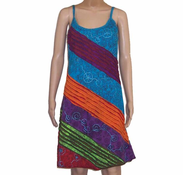 Hippy Dress with Diagonal Ripped Effect Turquoise