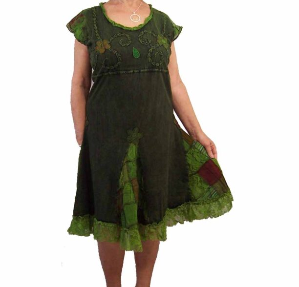 Hippy Dress with Embroidery and Lace Green