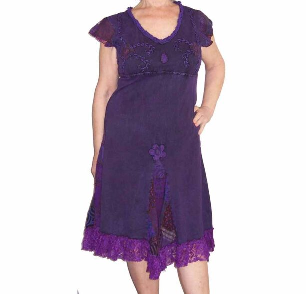 Hippy Dress with Embroidery and Lace Purple