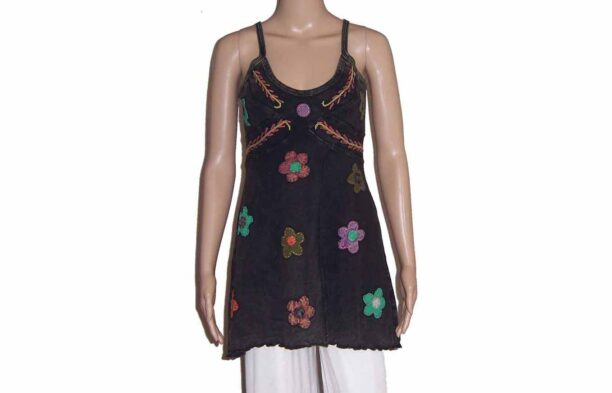 Hippy Faded Look Long Strappy Top with Split & Flower Detail Black