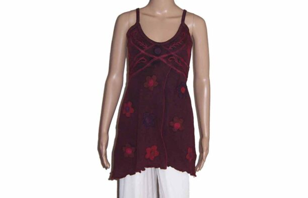 Hippy Faded Look Long Strappy Top with Split & Flower Detail Burgundy