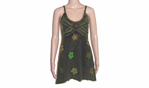 Hippy Faded Look Long Strappy Top with Split & Flower Detail Green