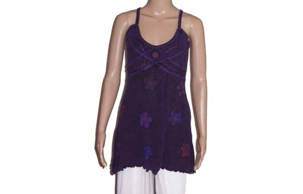 Hippy Faded Look Long Strappy Top with Split & Flower Detail Purple