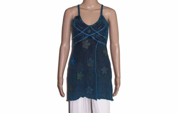 Hippy Faded Look Long Strappy Top with Split & Flower Detail Turquoise