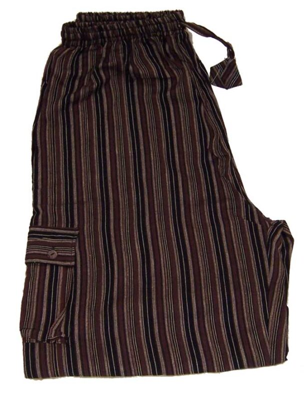 Hippy Trousers with Stripes Brown