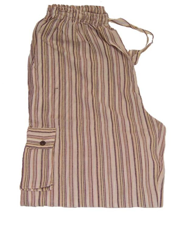 Hippy Trousers with Stripes Cream
