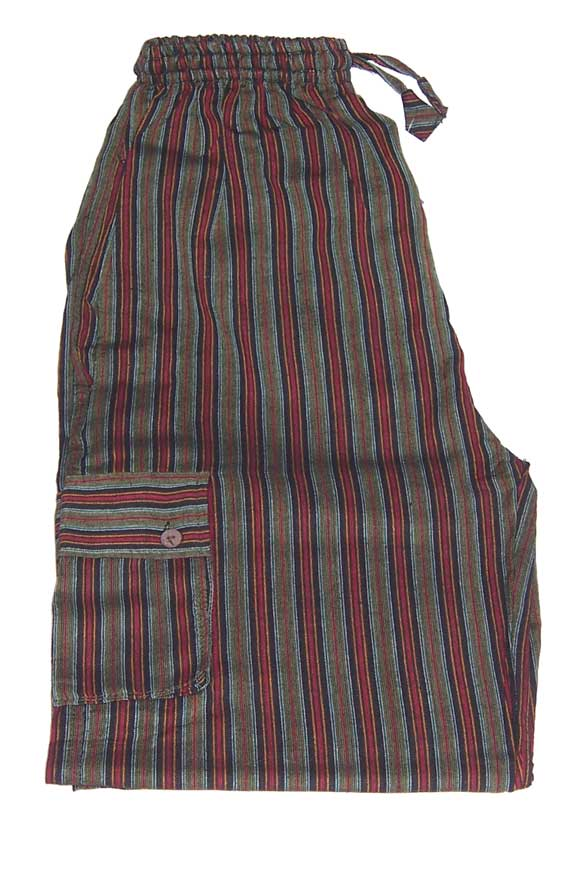 Hippy Trousers with Stripes Green