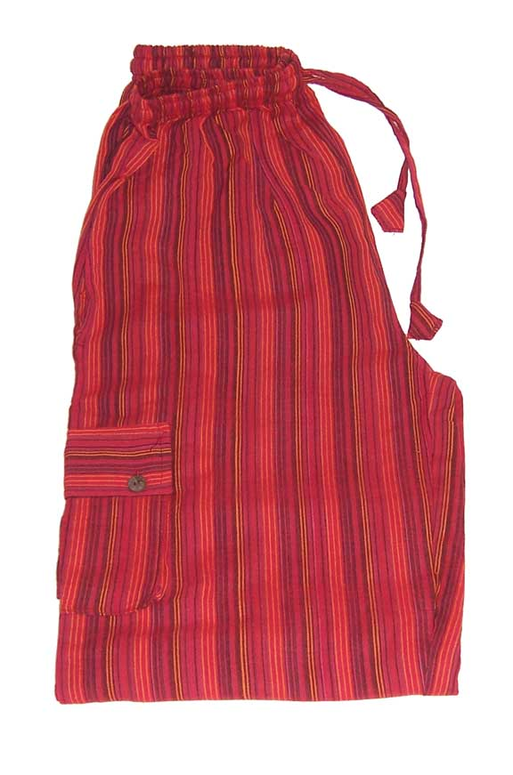 Hippy Trousers with Stripes Red