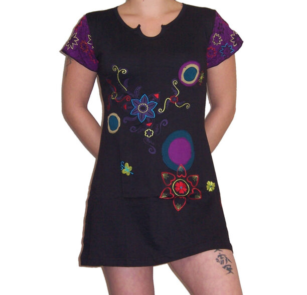 Hippy Tunic Short Sleeved with Circles & Flowers Black