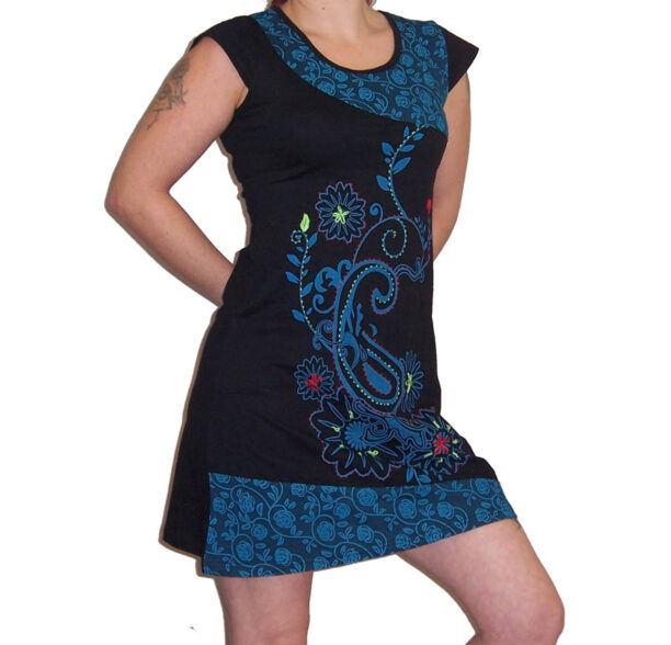 Hippy Tunic Short Sleeved with Flower Motif Blue
