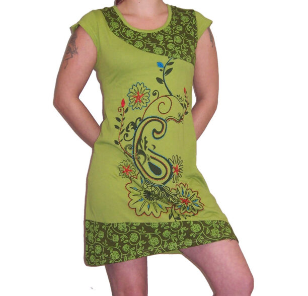 Hippy Tunic Short Sleeved with Flower Motif Green