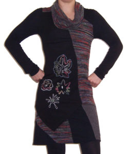 Long Sleeved Rollneck Bohemian Dress Tunic Grey Front