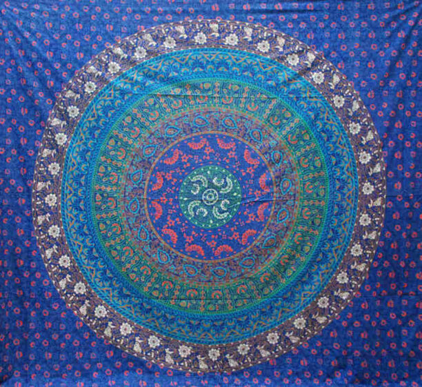 Multicoloured Mandala Throw Blue 220x200cm