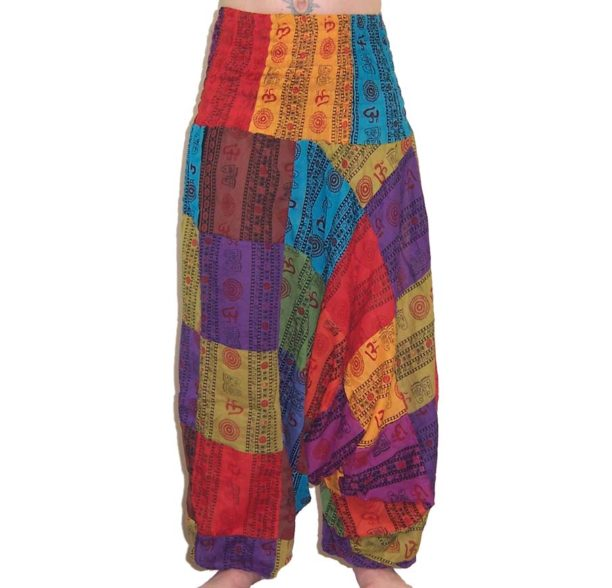 Om Print Ali Baba Patchwork Harem Trousers 1