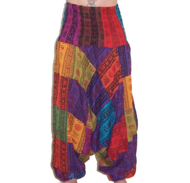 Om Print Ali Baba Patchwork Harem Trousers 2