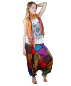 Om Print Ali Baba Patchwork Harem Trousers