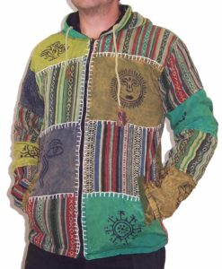 Patchwork Fleece Lined Hippy Jacket Green Small