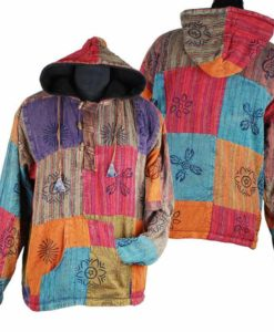 Patchwork Fleece Lined Jacket Toggles
