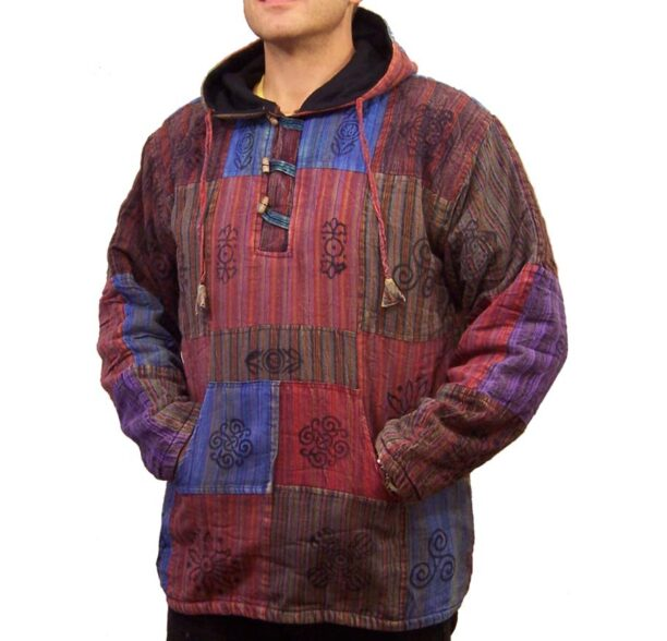 Patchwork Fleece Lined Jacket Toggles Lxl 1