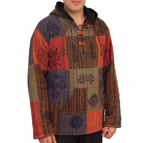 Patchwork Fleece Lined Jacket Toggles Lxl 2