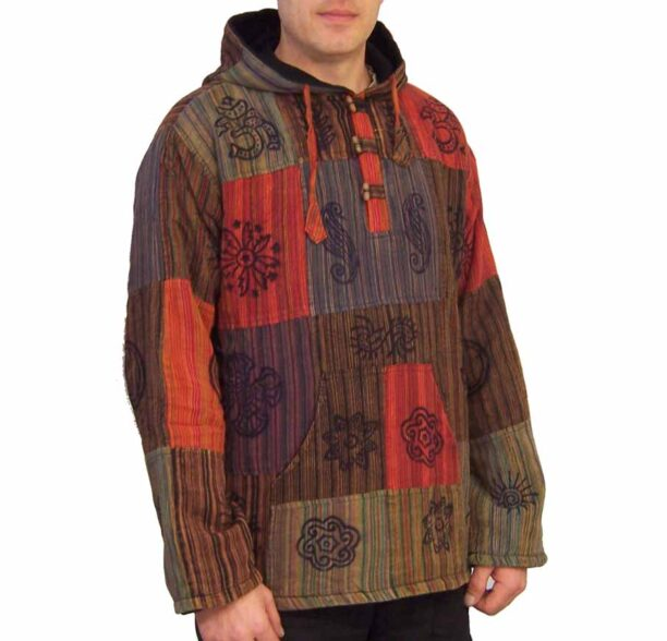 Patchwork Fleece Lined Jacket Toggles Lxl 3