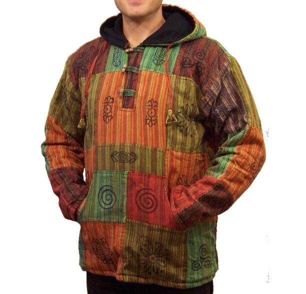 Patchwork Fleece Lined Jacket Toggles Lxl 4