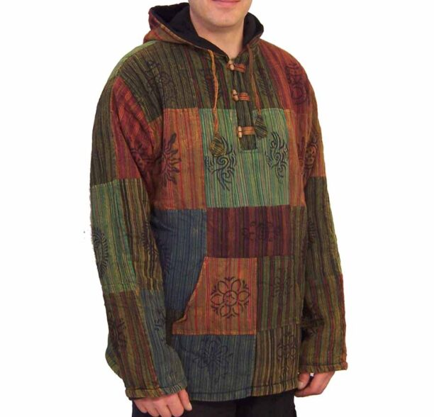 Patchwork Fleece Lined Jacket Toggles xxl 2