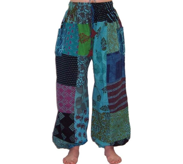 Patchwork Harem Trousers XXL Turquoise
