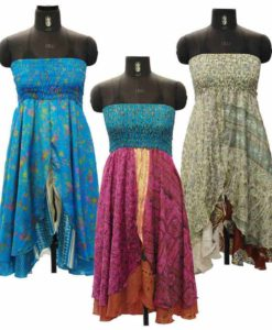 Recycled Sari Strapless Long Dress with Split