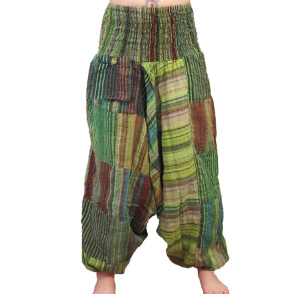 Seersucker Harem Hippy Trousers Green