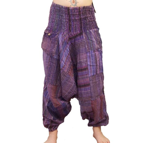 Seersucker Harem Hippy Trousers Purple