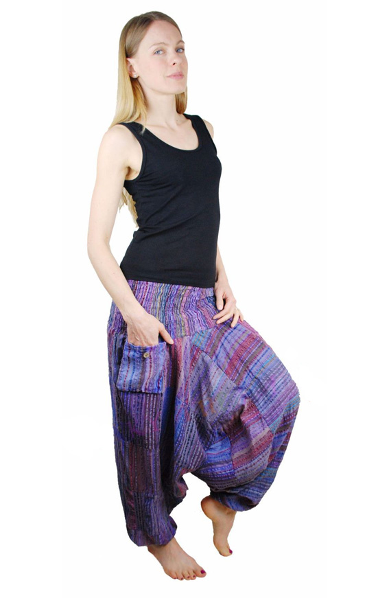 Seersucker Harem Hippy Trousers