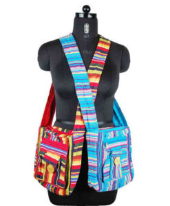 Square Over the Shoulder Hippy Bag with Gheri Stripes